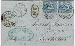 R3- N°90 Paire BM  Oblit. Avec Cachet D'arrivée LAVELANET Ariège Lettre De Mirepoix CàD De LAROQUE D'OLMES - Postmark Collection (Covers)