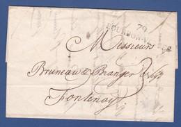 79 VENDEE- LAC - 79 BOURBON-VENDEE Noir -  Du 7 Janvier 1828 - Sans Timbre à Date Au Type A - Pour FONTENAY LE COMTE - 1801-1848: Precursors XIX