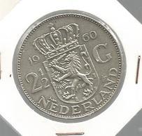 Monnaie ,Pays Bas , 1960,21/2 Gulden, Nederland , Juliana Koningin  Der Nederlanden ,argent , 2 Scans , Frais Fr 1.55 E - [ 3] 1815-… : Royaume Des Pays-Bas