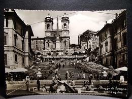 (FG.M16) ROMA - PIAZZA DI SPAGNA Animata E Con Le Azalee (viaggiata 1960) Trinità Dei Monti - Places & Squares