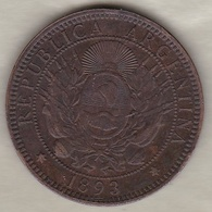 ARGENTINE / TUCUMAN. DOS CENTAVOS 1893. BRONZE - Argentina