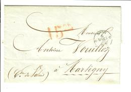 SUISSE SCHWEIZ Prephilatelie 1856 De Nyon à Martigny - ...-1845 Prephilately