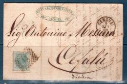 1869 Lettera  GENOVA  Per Cefalù (Numerale 13 ) - 1861-78 Vittorio Emanuele II