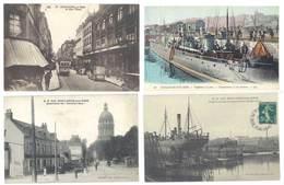 4 Cpa Boulogne Sur Mer - Rue Thiers, Tramway, Bateau De Guerre, Quartier Du Dernier Sou , ..  ( S. 3095 ) - Boulogne Sur Mer