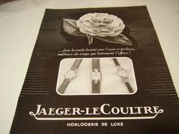 ANCIENNE PUBLICITE HORLOGERIE DE LUXE JAEGER-LECOULTRE 1950 - Bijoux & Horlogerie
