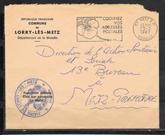 1811005 - ENVELOPPE A EN TETE DE LA MAIRIE DE LORRY LES METZ DU 23/03/67 - Marcophilie (Lettres)