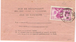 R6-75c J.CARTIER, Oblit Pont-L'Evêque  (Calvados ) 1934 Sur Avis De Réception Signé - Marcophilie (Lettres)