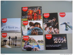 Coca Cola  Winter 2013-2014 7 Cartes Kaarten Boomerang Belgique België Pub - Cartes Postales