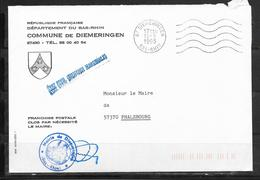 1811017 - ENVELOPPE A EN TETE DE LA MAIRIE DE DIEMERINGEN DU 15/09/93 - Poststempel (Briefe)