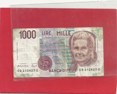 BANCA D'ITALIA  . 1.000 LIRE . M. MONTESSON  . N° ED 212427 E . . 2 SCANES - [ 2] 1946-… : Républic