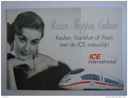 ICE International Trein Vrouw Train Reizen, Shoppen Cultuur ... Pub Boomerang NMBS SNCB - Trains