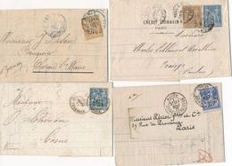 """CG-111: FRANCE: Lot """"SAGE"""" 4 Lettres Avec Timbres Perforées CEH-WC°-cl-? - Poststempel (Briefe)"""