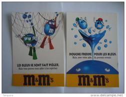 M&M's Les Bleus 2 Cartes Chocolade Chocolat Reclame Boomerang 1997 - Publicité