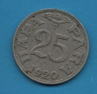 YUGOSLAVIA 25 PARA 1920 KM# 3 Petar I - Yugoslavia