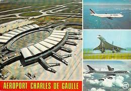 Aviation Avion Avions  Airport ROISSY EN FRANCE Aéroport CHARLES DE GAULLE Aibus Concorde Boeing 747  *PRIX FIXE - Aeródromos