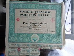 1926 - ACTION SOCIETE FRANCAISE DES PARFUMS RALLET - Parfum & Cosmetica
