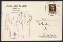 ITALY ITALIA ITALIEN 1943. POSTCARD CARTOLINA POSTALE, TOLMEZZO AMARO UDINE - Altri