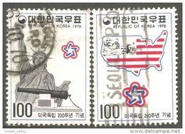 550 Korea 1976 Bicentennaire American Bicentennial Liberté Statue Liberty Carte Map Karte (KOS-374) - Corée Du Sud
