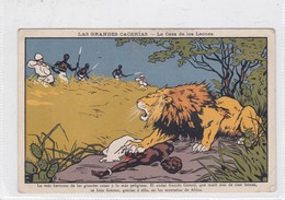 POSTCARD CACERIAS HUNTING LEONES LIONS;ADVERTISING LATOS CONTRA ENFERMEDADES DE PECHO HEALTH SALUD CIRCA 1920s- BLEUP - Reclame