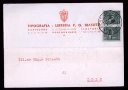 PORTOGRUARO APRILE 1945 CARTOLINA COMMERCIALE  PER DOLO - COPPIA 25 C. MONUMENTI DISTRUTTI (INT205) - Marcofilía