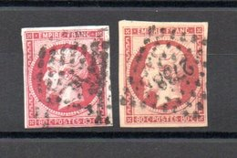 Très Beau Et Rare N° 17A + 17B Oblitérés Cote 120 Euros. Garanti Authentique Sans Plis, Ni Amincis. A Saisir !!! - 1853-1860 Napoléon III