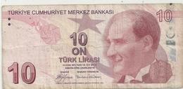 TURKIYE CUMHURIYET MERKEZ BANKASI . 10 LIRA .  1970  . N° B73 060509  .  2 SCANES - Turquie