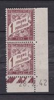 Timbre Taxe N° 40A** (bloc De 2) (coin Daté 28.2.42) - 1859-1955 Neufs