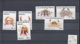 Cocos Inseln(BBK) Michel Cat.No. Mnh/** 274/279 Crabs - Cocos (Keeling) Islands