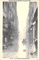 75 PARIS - INONDATIONS 1910 ( Crues Seine ) La Rue St André Des Arts - CPA Néobromure Avec Réplique Autographe JH ROSNY - Inondations De 1910