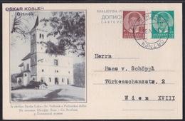 Yugoslavia, Kingdom, Illustrated 1 Din Postcard, Slovenia Motif (Škofja Loka), Uprated, Mailed 1938 - Cartas