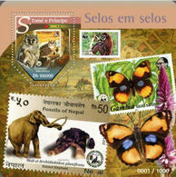 ST. THOMAS 2015 ELEPHANT OWLS MONKEY BUTTERFLY STAMP ON STAMP WWF MINI SHEET 1 VALUE PERF MNH S11604-5 - Stamps On Stamps