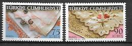 TURKEY 2009 Sc#3185-86 Embroidery Complete Set MNH LUX - 1921-... Republic