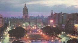 BUENOS AIRES. VISTA NOCTURNA PLAZA DEL CONGRESO. DOBLE A. POSTAL COLOR CIRCULEE ITALIA 1987-RARE-ARGENTINE- BLEUP - Argentinië