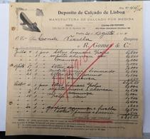 FACTURA/ RECIBO PORTUGAL DEPOSITO DE CALÇADO DE LISBOA RUA SA BANDEIRA PORTO - Portugal