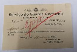 FACTURA/ RECIBO PORTUGAL SERVIÇO DE GUARDA NOTURNO 1915 - Portugal