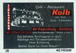 1 Altes Gasthausetikett Café - Restaurant Kolb, 8400 Regensburg #4 - Boites D'allumettes - Etiquettes