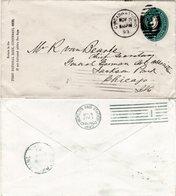 USA 1893, World's Fair Station Maschinenstpl. Rücks. Auf 2 C. Ganzsache - Stamps
