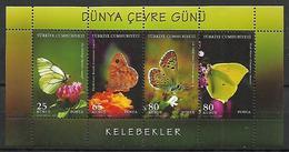 TURKEY 2009 Sc#3168 World Enviroment Day BUTTERFLIES Compete Set MNH LUX - 1921-... Republic