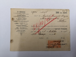 FACTURA/ RECIBO PORTUGAL JORNAL O SECULO 1 OUTUBRO 1915 - Portugal