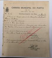 FACTURA/ RECIBO PORTUGAL CAMARA MUNICIPAL DO PORTO 1915 - Portugal