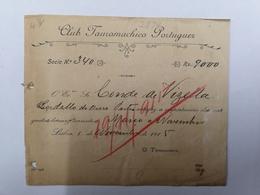 FACTURA/ RECIBO PORTUGAL CLUB TOUROMACHICO PORTUGUEZ NOVEMBRO 1915 - Portugal