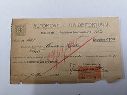 FACTURA/ RECIBO AUTOMÓVEL CLUB DE PORTUGAL 1915 - Portugal