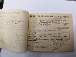FACTURA/ RECIBO COMPANHIA DE AGUAS DO PORTO PORTUGAL 1915 - Portugal