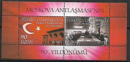 TURKEY 2011 Sc#3247 Treaty Of Moscow Miniature Sheet Of 2 MNH LUX - 1921-... Republik