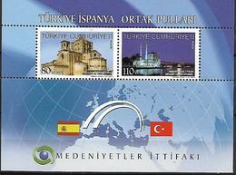 TURKEY 2010 Sc#3240 Religious Buildings Of Spain And Turkey, Miniature Sheet Of 2 MNH LUX - 1921-... Republik