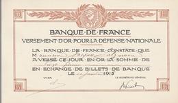 Banque De France Versement D'Or Pour La Défense Ntionale - 10 Janvier 1916 - 1914-18