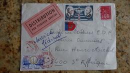 """Bel Affr Sur Enveloppe De Bois Colombe Pour St Affrique  """" Distribution Par Porteur Special """" 1976 - Marcophilie (Lettres)"""