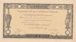 Banque De France Versement D'Or Pour La Défense Ntionale - 16 Novembre 1916 - 1914-18