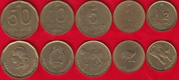Argentina Set Of 5 Coins: 1/2 - 50 Centavos 1985-1988 AU - Argentina