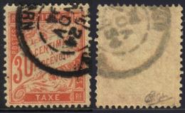 30c Banderolle Erreur De Couleur ROUGE-ORANGE TB Signé CALVES (Y&T N° 34, Cote 100€) - Taxes